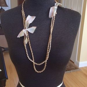 "J. Crew rope chain necklace with ""diamonds""&bows"